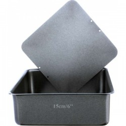 NON-STICK LOOSE BASE DEEP SQUARE CAKE PAN - 20 cm