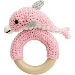 Rattle Dolphin on wooden ring by Sindibaba, blue