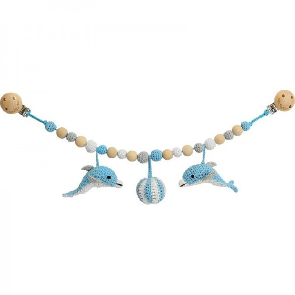 Pram chain with dolphin by Sindibaba, rose/white