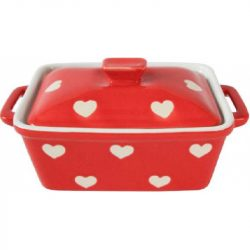 Butter Dish, Red Dots