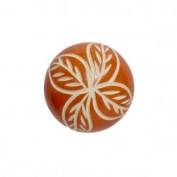 Porzellangriff mit Muster Orange/Weiß