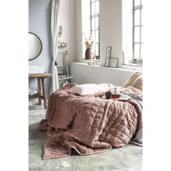 Bed spread double velvet dusty, lilac, 240 x 240 cm