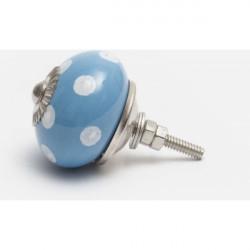 Blue ceramic knob with white dots