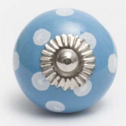 Blue ceramic knob with white dots