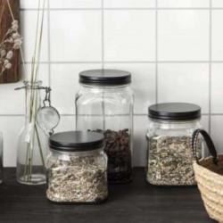 Glass Storage Jar with black lid - 450 ml