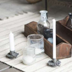 Candlestick for thin candles, metal lid
