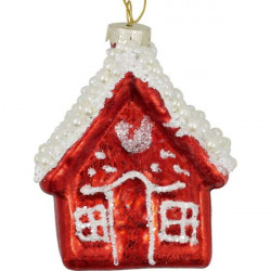 Glass Christmas ornament House, pale pink