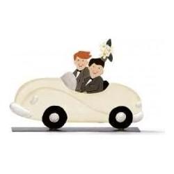 Brautpaar, Männer im Auto