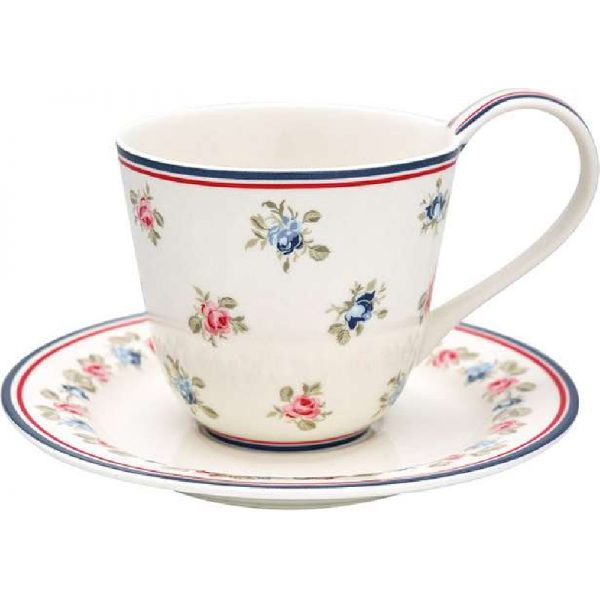 Cup and saucer Hailey white Greengate